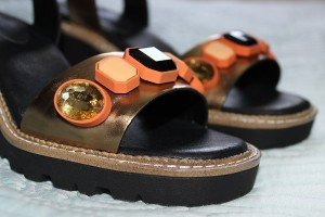 Topshop bronze jewelled sandals