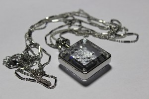 Frank Usher Perfume Bottle Necklace silver pendant