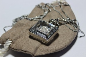 Frank Usher Perfume Bottle Necklace silver tone and pouch1